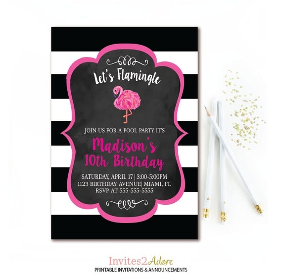 Flamingo birthday party invitation pool party black white il570xn filmwisefo