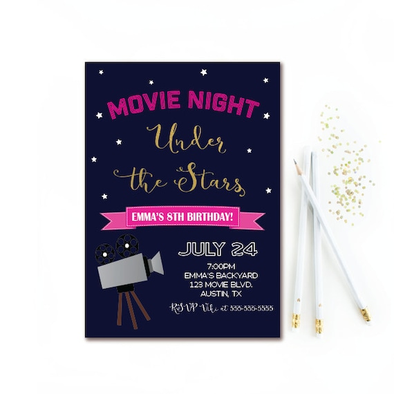 Movie night birthday invitation outdoor movie party girl il570xn filmwisefo