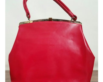 SALE Vintage Red Purse - 1960's Structured Vinyl Purse - Bright Red Handbag