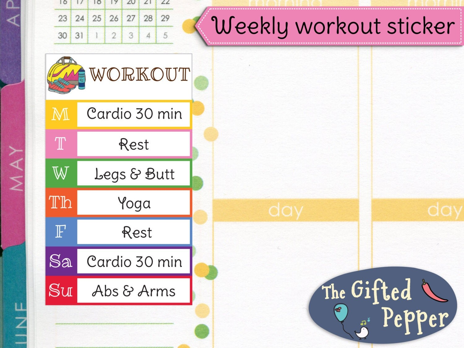 workout log printed weekly workout plan stickers exercise log fitness weight loss jogging gym tracking erin condren planner stickers item 209