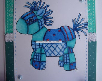 All Occasion Card Set.  Quilted Animals.  Quilted Horse, Quilted Chicken, Quilted Cow and Quilted Reindeer.  Set of 4 Cards and Envelopes.
