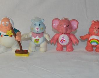 "Four Care Bear posable vintage action figures Care Bears 1983 AGC 3"""