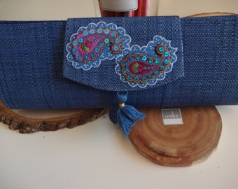Handmade  Blue clutch with appliques