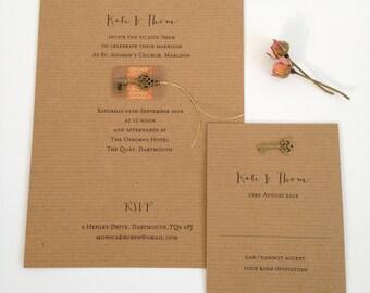 Rustic Key Wedding Invitation, Kraft Wedding Invite, Key Invitations