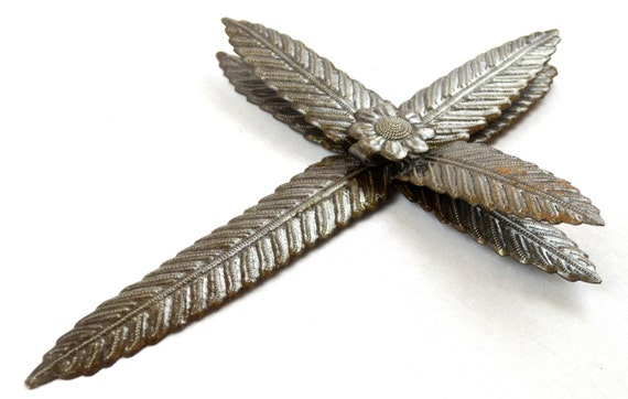 """Metal Cross, Floral 3-D Collection Haitian Recycled Wall Art, 8"""" X 13"""""""