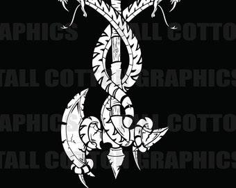 Snakes coiled on Axe Vinyl Decal  - #BS071