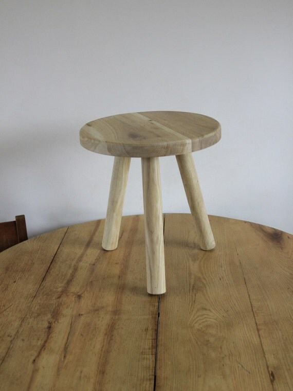 Stool Bedside Table: Small Wood Stool Low Bedside Table Wooden Round By