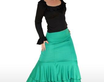 ELEGANT FRILL SKIRT - Available as both skirt and dress! Various colours. Professional Flamenco Skirt, Dance Performance Costume, Dance Show