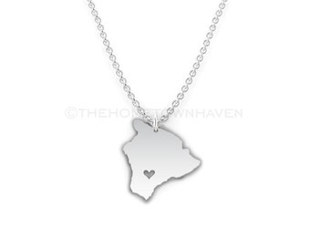 Hawaii Necklace - Hawaii shaped necklace, I heart Hawaii, I heart Hawaii, Hawaiian island necklace