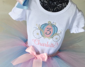 Personalized embroidered Princess Carriage Coach shirt pink and blue Tutu Outfit Cinderella Birthday Party Disney Vacation First Birthday