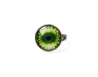 Green abstraction - adjustable ring, 12mm glass dome photo cabochon, bezel ring, statement ring, green ring, image ring