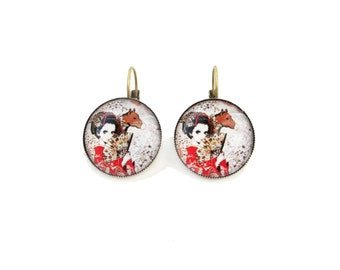 Geisha with a horse leverback earrings, blue and white color earrings, 20mm glass dome cabochons - red kimono, fan