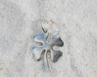 Lucky Four Leaf Clover Charm, Sterling Silver, Good Luck Charm, Girl Birthday Gift, Jewelry Gift, Children's Jewelry, Four Leaf Pendant