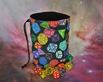 Dice Bag large with unique d6 to d20 design Handmade and fully lined