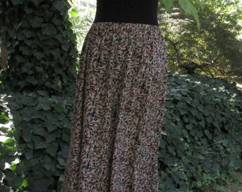 VINTAGE MAXI SKIRT, Long Flared midi, rayon print, autumn colors brown tan rust olive black, 90s Boho Gypsy, ditzy floral abstract petals xL