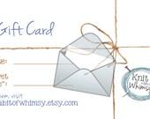 Gift card www.knitabitofwhimsy.etsy.com