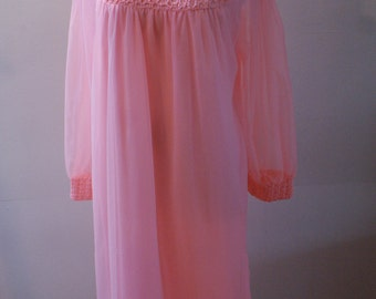 Bright Pink 1950's Long Sleeve Chiffon Baby Doll Vintage Lingerie Smocking & Ruffled Size Small/Medium SL-103