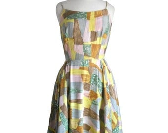 Vintage Summer Dress 1950s Patchwork Print Fabric Spaghetti Strap Design Tank Dress - Green Pink Brown and Yellow XS/S