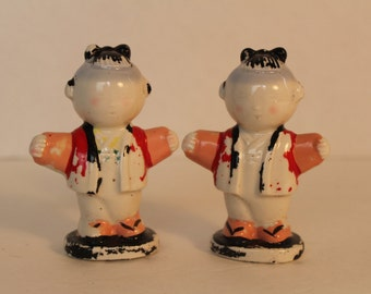 Vintage Oriental Asian Girl Salt and Pepper Shakers