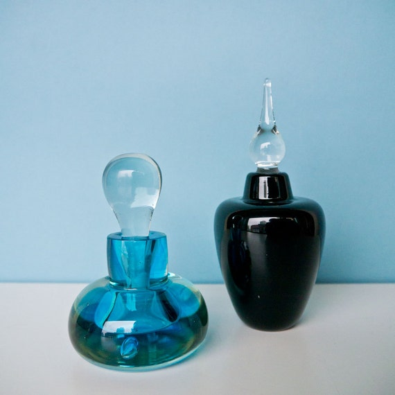 Mid Century Modern Handmade Art Glass Perfume Decanter set