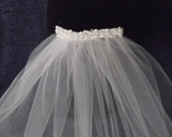 Crystal and Pearl Short  Bridal Veil, 2 Tier Veil. Available in white or ivory.