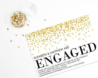 Engagement Party Invitation, Engagement Invitation, Printable Template, Glitter, Editable, Wedding Printable - PDF Instant Download