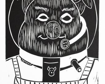 Graphic print, black and white, art, ink, Pig - Animal Farm - Cosmonaut, Pig series, Linocut, Fine art print, Relief print, limited edition