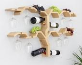 Oak Wall Mounted Wine Rack - Solid Oak Wine Rack Grapevine