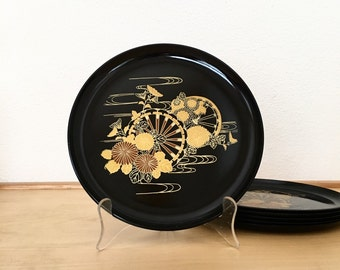 Vintage Lacquer Plates / Black and Gold Japanese Serving Plates / Lacquerware Dishes Set of 6 / Tea Snack Plates / Collectible Kitchen Decor