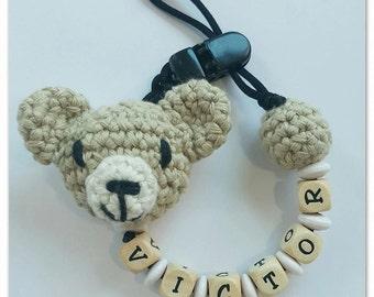 Chupetero Teddy bear Amigurumi