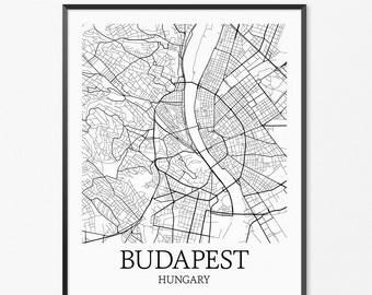 Budapest Map Art Print, Budapest Poster Map of Budapest Decor, Budapest City Map Art, Budapest Gift, Budapest Hungary Art Poster