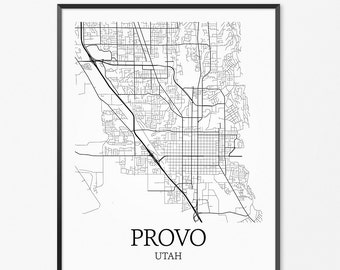 Provo Map Art Print, Provo Poster Map of Provo Decor, Provo City Map Art, Provo Gift, Provo Utah Art Poster