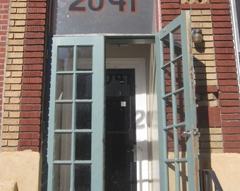 House Number 2041, Photography Digital Download, North Philadelphia, DIY Home Decor, Affordable Wall Art, Brick Home with Blue Glass Doors