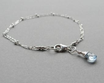 Sky Blue Topaz Bracelet, Wire-wrapped Bracelet, Sterling Silver Satellite Chain Bracelet, Topaz Bracelet, Something Blue, UK Jewellery