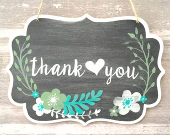 Thank you Black Calligraphy Chalkboard Sign with Flowers / Mint and Greens / Earth Tones / Wedding Sign / Photo Prop