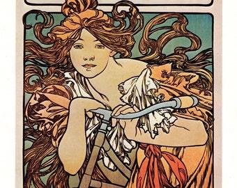 Alphonse MUCHA 1976 Authentic Vintage Art Nouveau Print 1897 CYCLES PERFECTA