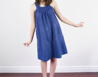 Vintage 1960s Denim Swing Dress / Tent Dress / Blue Denim Dress / S/M