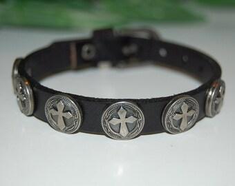 Cross Leather Bracelet,Metal Studded Surfer Leather Bracelet,Leather Wristband,Leather Cuff Bracelet,Fit All,Man,Woman,Rockers Bracelet