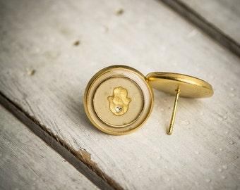 Hamsa earrings, Stud earrings, turquoise earrings, post earrings, white earrings, resin earrings, jewish earrings, gift under 50.