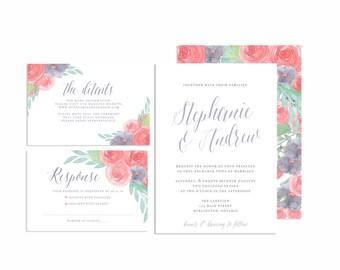 Printable Wedding Invitation Suite, Hand Lettered Wedding Invite, Floral Wedding Invitation Set, Rustic Wedding Invitation