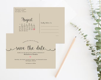 Rustic save the date printable, Save the date postcard, save the date calendar