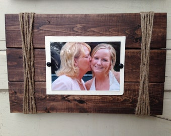 Rustic Picture Frame, 5x7 Frame, Twine, Distressed Frame, Wall frame, Farmhouse Decor