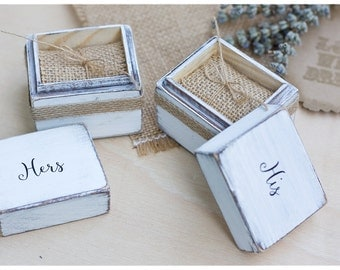 Ring Bearer Box: White ring boxes - Ring bearer box - Wedding ring box - Rustic wedding - Personalized Ring holder - His and Hers ring box