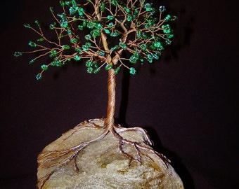 Beaded Copper Wire Tree Sculpture