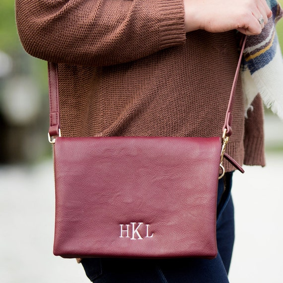 Monogrammed Cross Body Purse - Wine