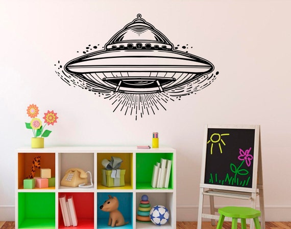 Items similar to alien spaceship wall decal ufo sci fi for Sci fi home decor