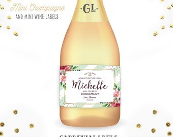 Bridesmaid Gift mini champagne labels, Will you be my bridesmaid wine labels, bridal party proposals, bridesmaid box item, ask maid of honor