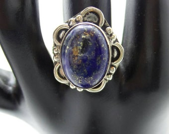 SALE Lapis Sterling Silver ring, size 8.