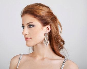 Pearl chandelier earrings Swarovski earrings Bridal accessories Long earrings Pearls earrings for bride Filigree earrings Bridal earrings