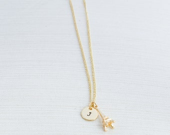 Gold Initial Necklace with a Eiffel Tower Charm - Personalised Jewellery - Paris Necklace -Gold Plated Jewellery - Bridesmaid Gift